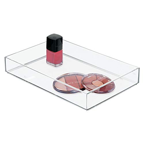 iDesign Clarity Plastic Drawer Organizer Storage Container for Cosmetics Makeup and Accessories on Vanity Countertop Bathroom or Cabinet 8 x 12 x 2 Clear