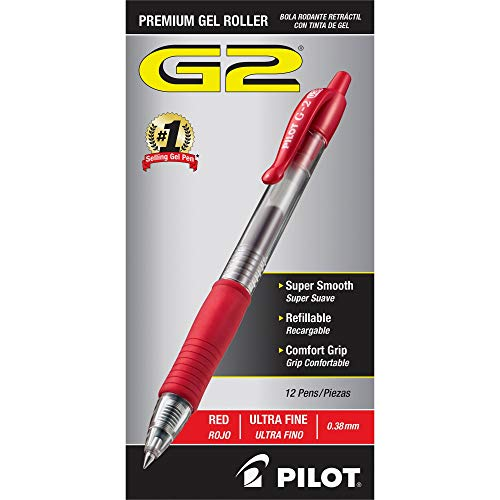 PILOT G2 Premium Refillable & Retractable Rolling Ball Gel Pens, Ultra Fine Point, Red Ink, 12-Pack (31279)
