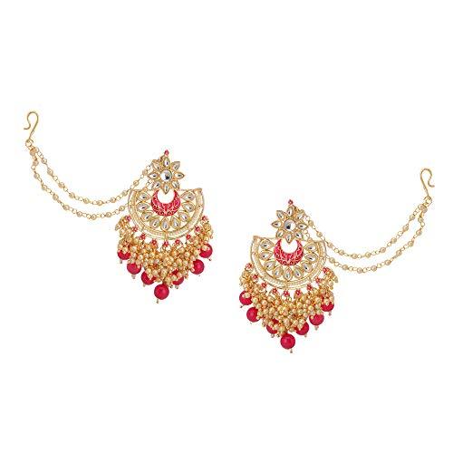 Zephyrr Hecho a mano fiesta desgaste Kundan & Pearl Pendientes de oro con perla de la cadena de la oreja de la joyería para las mujeres (JAE-4928)