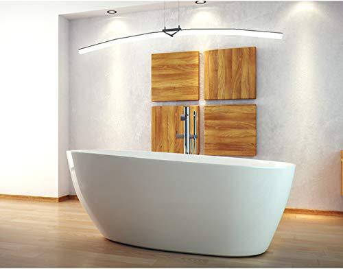 ECOLAM exklusive freistehende Badewanne Standbadewanne moderne Wanne freistehend Goya + Ablaufgarnitur Click Clack Design Mineralguss 142x62 cm glamour weiß