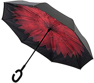 Clifton Umbrellas Inverted Red Flower print windproof Umbrella, Red Flower
