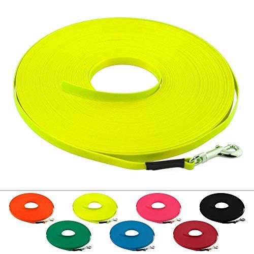 LENNIE Leichte BioThane Schleppleine, 9mm, Hunde bis 5kg, 10m lang, ohne Handschlaufe, Neon-Gelb, genäht