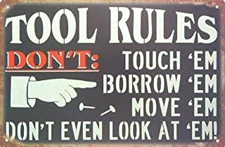 Retro Vintage Sign for Wall Decor | Tool Rules 8 x 12 in | Home Garage Man Cave Room Decoration