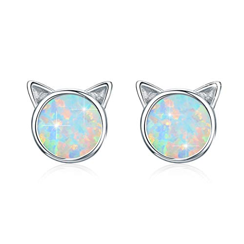 OpalOhrringe Silber, BAMOER OpalKatzen Ohrringe 925 Sterling Silber Katze OpalOhrstecker für Mädchen Damen HypoallergeneOhrringe Katze