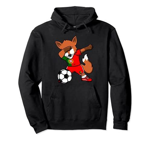 Dabbing Volpe Fox Portogallo Calcio Bandiera Portoghese Felpa con Cappuccio