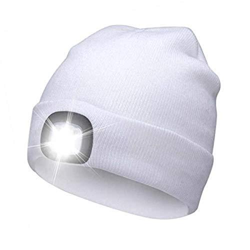 fefe Nuevo Gorro con luz LED Hip Hop Hombres Mujeres Sombrero de Punto Caza Camping Sombrero para Correr Hombres y Mujeres Dropship, Blanco
