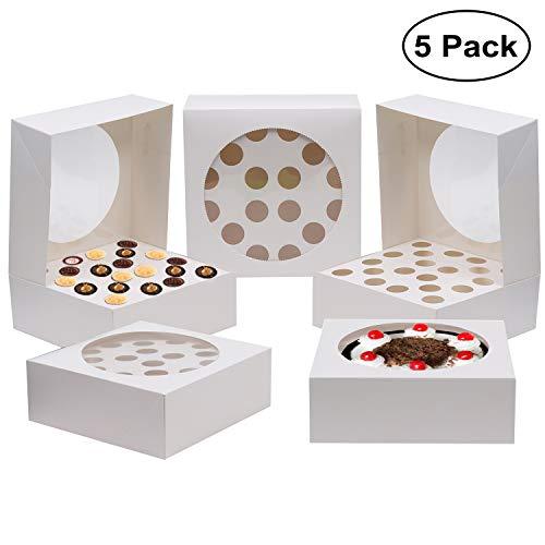 Kurtzy 5 PC Cupcake Boxes - Cupcake Holder 28.5 x 28.5cm Almacena hasta 20 Cupcakes o Large Cake - Bandeja de cartón Muffin con ventana transparente para boda, fiesta de cumpleaños