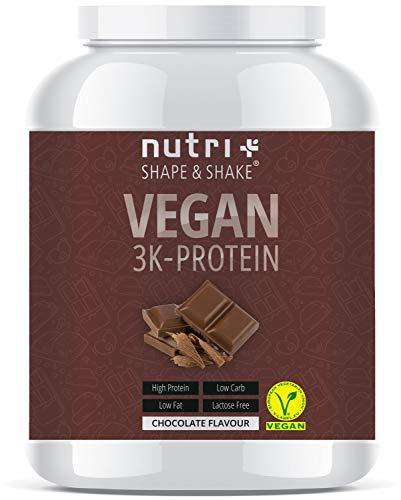 PROTEINPULVER VEGAN Schokolade 1kg - Low Sugar 3k Eiweißshake Chocolate Powder - Veganes Eiweißpulver Schoko 1000g - Proteinshake ohne Laktose und Milch - Eiweiß Isolate