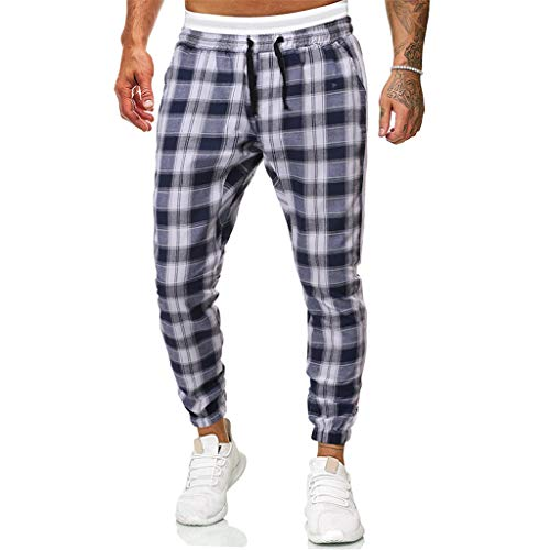 Buy Men's Casual Plaid Pants Slim Fit Trousers Active Sport Running Workout Joggers Sweatpants with ...