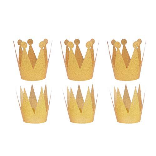 Minkissy chapeaux de couronne dor danniversaire, 6pcs chapeaux de couronne de princesse prince casquettes couronne roi dor pour la célébration de fête et anniversaire