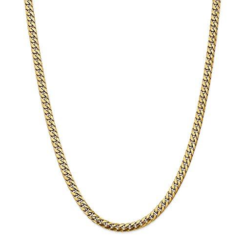 Collana in oro giallo 14 kt, 5 mm, a catena cubana con aragosta da 66 cm, per uomo e donna