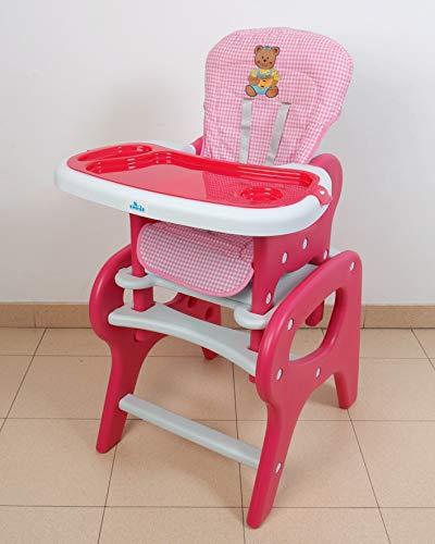 Trona para bebé convertible en mesa y silla, panda rosa. Trona o silla para niños.Mas set regalo