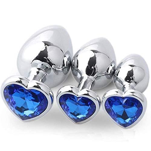 3Pcs/Set Luxury Gem Jeweled Design Heart Shaped Stainless Steel Bûtt Pl'ugs Stimulātor Beginners for Men and Women Best Idea for Gift-Blue