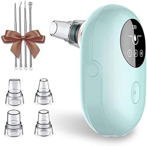 Mosen Mitesserentferner Porenreiniger Vakuumsauger,USB Aufladung Wiederaufladbarer,LED Display,Blackhead Remover mit 5 Austauschbaren Reinigungsaufsätzen,4 Modi (Blau)