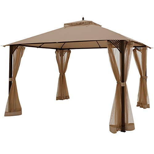 Tangkula 12 X 10FT Patio Gazebo, Heavy Duty Gazebo Canopy Shelter w/Sturdy Metal Frame & Netting Sidewalls, Air-Ventilated Canopy Party Tent w/Dual-Tiered Top for Backyard Garden Lawn (Brown)