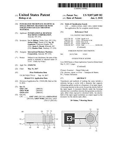 Integrated microwave-to-optical single-photon transducer with strain-induced electro-optic material: United States Patent 9857609...