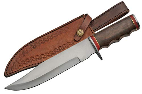 "SZCO Supplies 12"" Stainless Steel Wood Handle Bowie Hunting Knife W/Sheath, Brown/red (203380)"