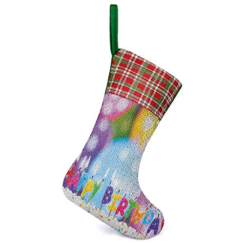Homesonne Christmas Stockings Celebration Colorful Candles on Party Cake with Abstract Blurry Backdrop Rustic Farmhouse Xmas Stockings Perfect for Christmas Multicolor