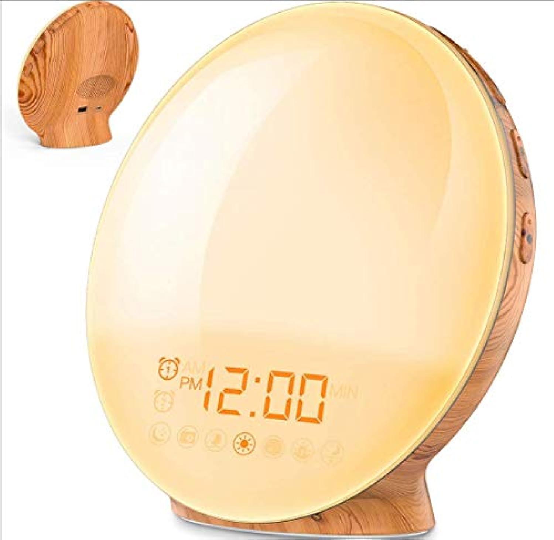 Lichtwecker Holz Wake up Licht Wecker Sonnenaufgang mit 6 natürlichen Sounds & 7-farbige Sonnenaufgangssimulation und Nachtlicht bei Sonnenuntergang FM-Radio Holzmaserung Nachttischlampe