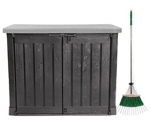 Ondis24 Keter Mülltonnenbox Gartenbox Gerätebox MAX mit Laubrechen/anthrazit grau / 1200 L/für 2 x 240 L Mülltonne abschließbar Deckel mit Gasdruckfedern hochwertiger Kunststoff