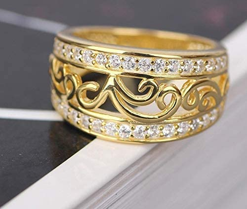 Art shop Fine 18k Yellow Diamond Women Under blast sales Engagement Rings New arrival Gold