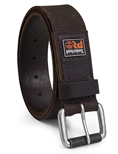 Timberland PRO Men s 38mm Boot Leather Belt, Dark Brown (Rubber Patch), 38