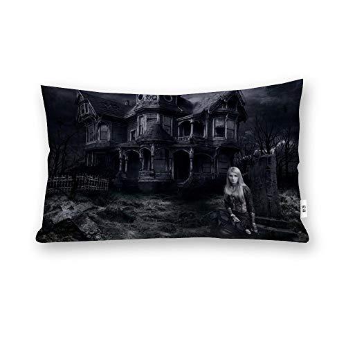 Funda de almohada de Halloween aterradora casa encantada – La casa de las mujeres