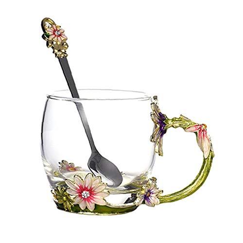 KHHGTYFYTFTY Flor Taza de té de Cristal de café con la Cuchara Delicado Regalo para la Esposa, mamá, Muchacha en el Día de San Valentín, Día de la Madre, Aniversario de Boda Verde