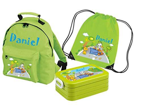 Mein Zwergenland Set 4 Kindergartenrucksack Classic und Brotdose Lunchbox Maxi + Turnbeutel mit Name Bagger, 3-teilig, Grün