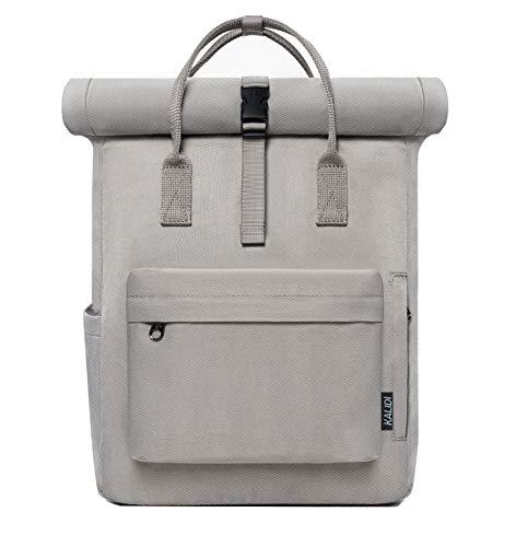KALIDI Backpack Women Roll top Rucksack Women & Men School Bag Unisex Water-Resistant Casual Daypack fits 15 inch MacBook Laptop (grey2)