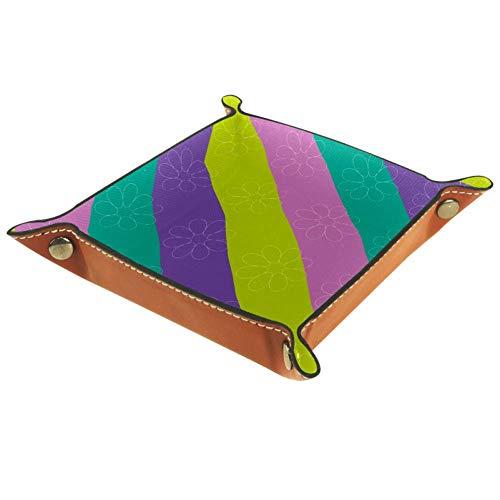 HOHOHAHA Würfeltablett mit farbigen Streifen, faltbares Tablett aus PU-Leder für Rollenspiele, Spiele und andere Brettspiele.
