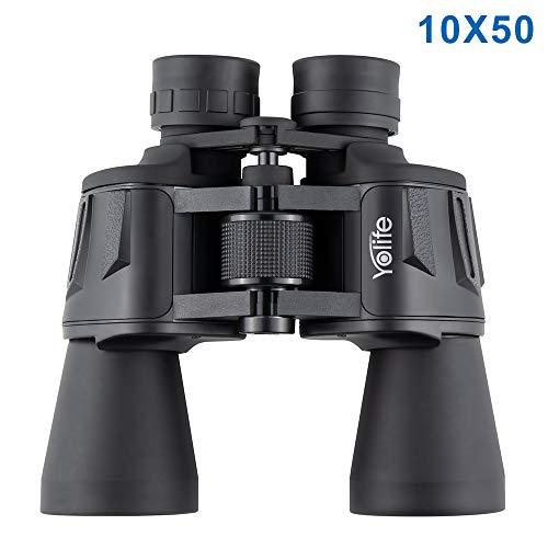 Yolife Prismáticos potentes 10x50 para Adultos, BAK-4 Binoculares Transparentes Profesionales duraderos de tamaño Completo para observación de Aves, observación de Vida Silvestre, Viajes, Caza