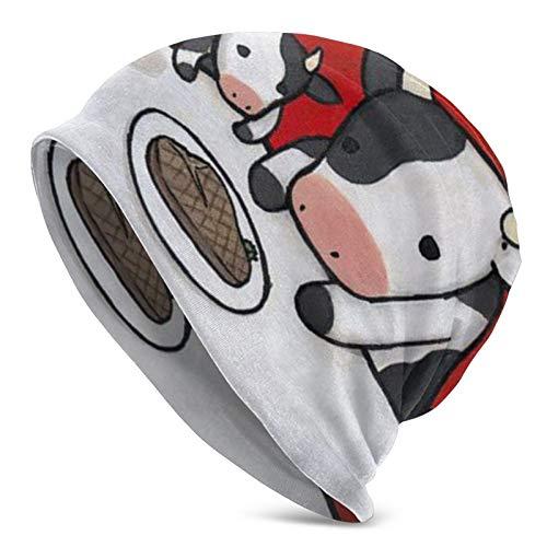 LKQTH Lácteos y productos de ganado Unisex elástico Knit Beanie Hat Slouchy Skull Cap Invierno Warm Hat Negro