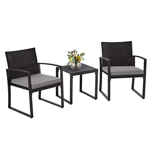 SUNCROWN Outdoor Furniture 3 Piece Patio Bistro Set Black Wicker Chairs and Glass Top Coffee Table, Grey Cushions