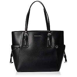 Michael Kors Voyager Crossgrain Leather Tote, Cabas femme, Noir (Black), 15.8×27.9×37.4 cm (B x H T)