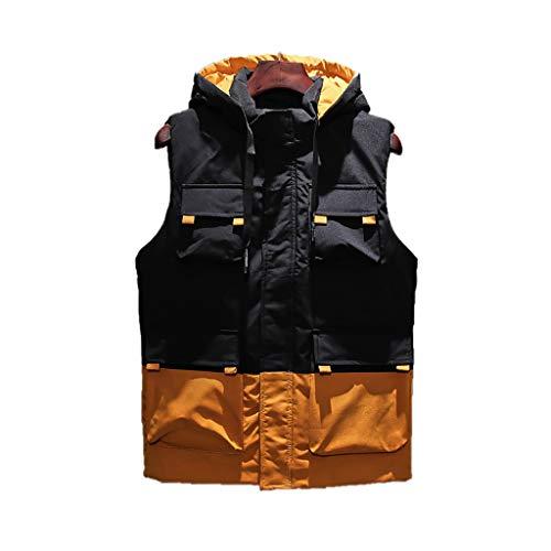 ZZL Chaleco calentador de cuerpo para hombre al aire libre, informal, con cuello alto, ligero, acolchado, sin mangas, con cremallera completa (color: gris, talla: XXXXL)