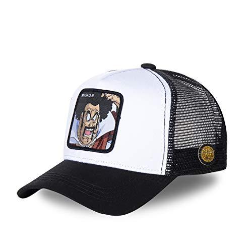 Capslab - Gorra de béisbol de estilo camionero, diseño de Dragon Ball Z Mr Satan (blanco/negro) Talla única