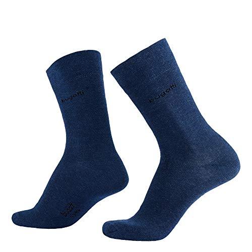 Bugatti Herren Socken 6er Pack 9106 0099 komfortabel bequem lang zweifarbig, Groesse 43-46, 6x blau/meliert