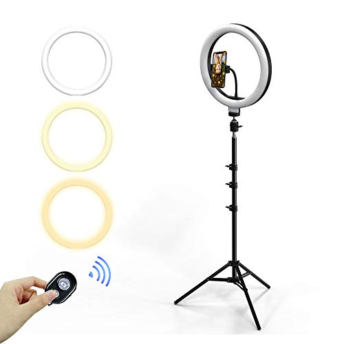 TURBO SII 12' LED Selfie Ring Light with Phone Holder & 63' Tripod Stand, Bluetooth Remote Control for Live Stream/Makeup/YouTube Video/Photography, Compatible with iPhone and Android.
