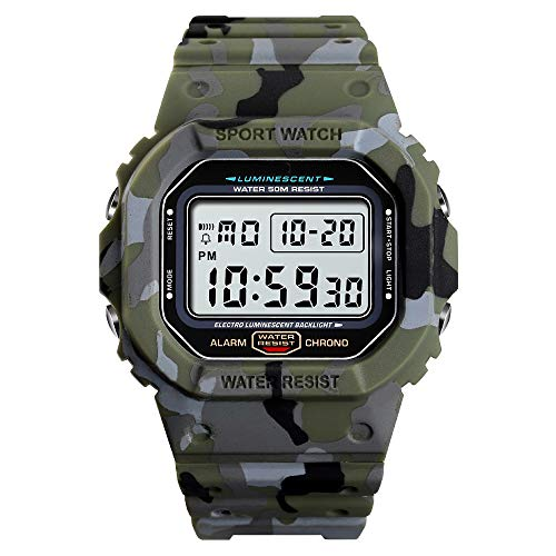 TOOCAT - Reloj de Pulsera Digital LED para Estudiantes, para Deportes al Aire Libre, Resistente al Agua, Correa de Silicona, Alarma, cronógrafo, para Hombre