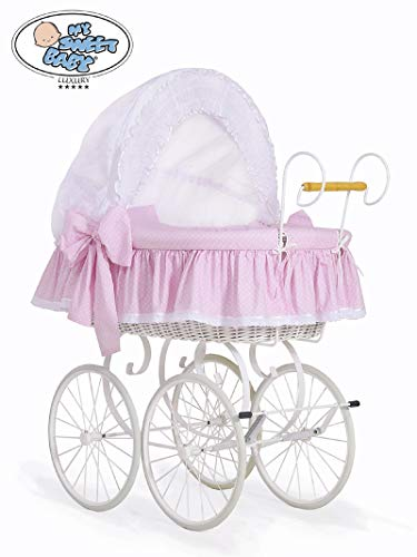 New Luxury Retro - Vintage White Wicker Crib/Moses Basket, White Metal Chassis Stand, White & Pink Polka DOT Bedding & Mattress