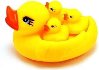 Newin Star 1 Juego (4pcs) Familia del Pato de baño Juguetes Divertidos patitos de Goma chirriantes duraderos flotantes Juguetes Ducky para la Ducha de bebé