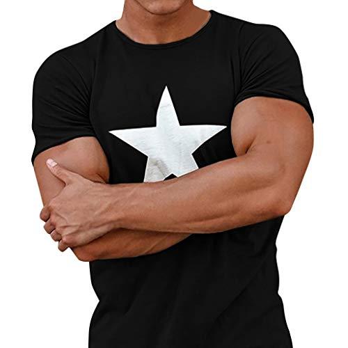 Leegor Summer Men's Printed Star Short-Sleeve Blouse Crewneck Slim T-Shirt Casual Tops