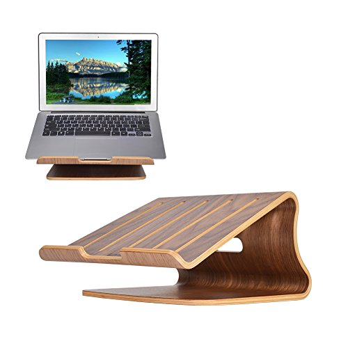 Wood Laptop Stand, SAMDI Wooden Notebook Stand Holder with air Breathing Slots for 10-16 Inch Laptop/Notebook, Eye-Level Ergonomic, Compact & Stable (Black Walnut)