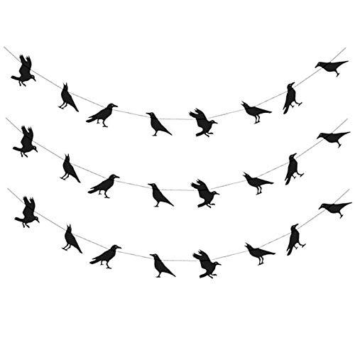 PRETYZOOM 3 Piezas Crows Decoración de Halloween para Decoraciones Crow Luces Guirnalda Figurita Decorativa Negra- Creativos Crows de Halloween Banners- Colgantes Guirnaldas Fiesta Favores