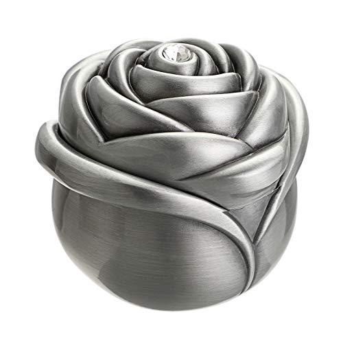 Hipiwe - Portagioie vintage a forma di rosa – piccolo portagioie portagioie per anelli, orecchini, collana, tesoro, regalo per ragazze e donne