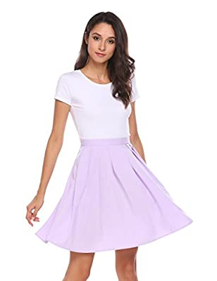 Zeagoo Basic Versatile Flared Skater Skirt Pleated Skirt with Pockets US Size S to XL