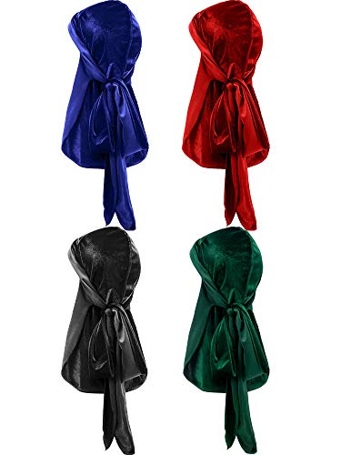 Tatuo 4 Pieces Men's Velvet Durag with Long Tail Soft Durag Headwraps for 360 Waves (Black, Green, Red, Royal Blue)