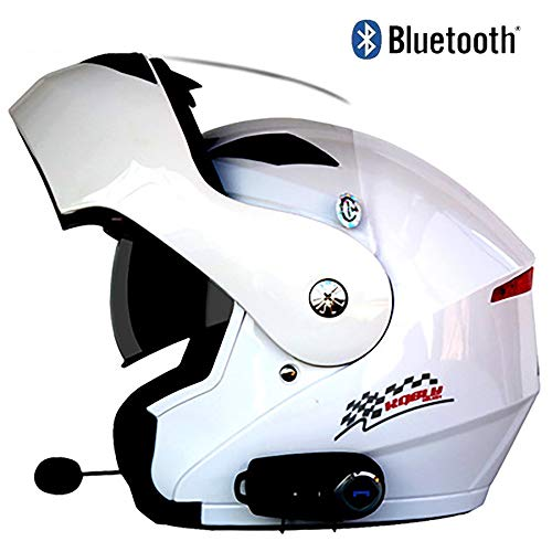 TKTTBD Motorcycle Bluetooth Helmet Full Face Helmet Flip Up Dual Visor ECE Certification with Microphone Dual-Speaker Bluetooth Headset