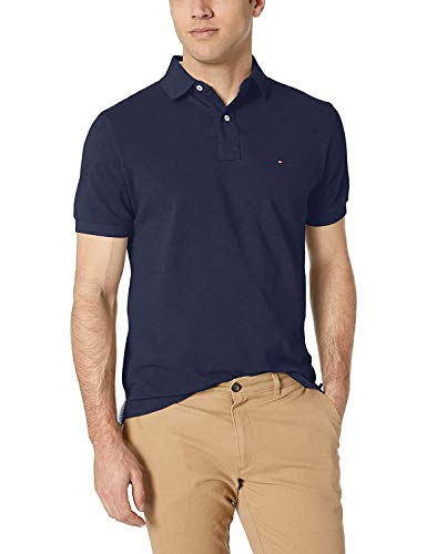 Tommy Hilfiger Men's Short Sleeve Polo Shirt in Classic Fit, Navy